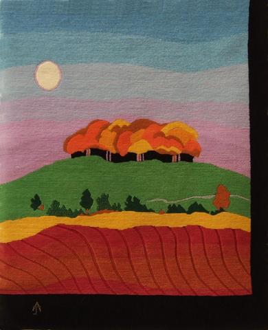 Autumn Clump, hand dyed, hand spun, hand woven wool carpet, 106 x 86 cm