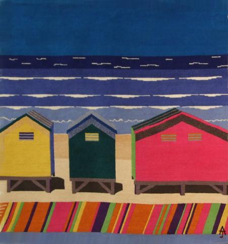 Beach Huts, hand dyed, hand spun, hand woven wool and silk carpet, 116 x 108 cm
