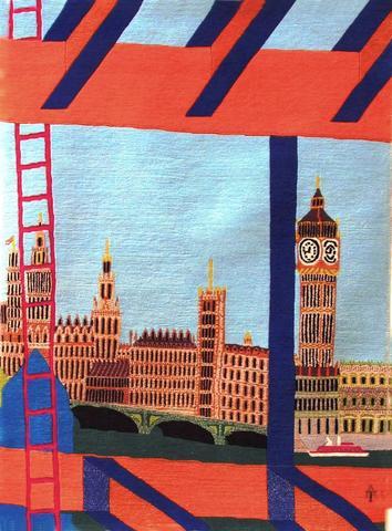 Big Ben, hand dyed, hand spun, hand woven wool carpet, 122 x 90 cm