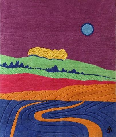 Blue Moon, hand dyed, hand spun, hand woven wool carpet, 92 x 82