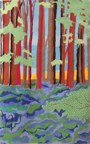 Bluebell Wood, hand dyed, hand spun, hand woven wool carpet, 159 x 100 cm