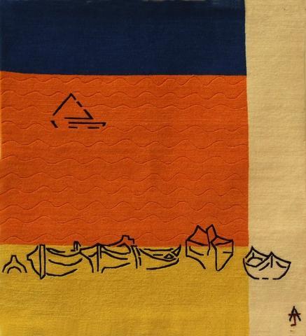 Boats, hand dyed, hand spun, hand woven wool carpet, 91 x 85 cm