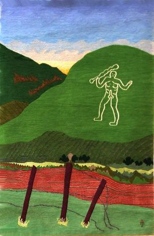 Cerne Abbas, hand dyed, hand spun, hand woven wool and silk carpet, 142 x 82 cm.