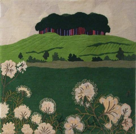 Hampshire Clump, hand dyed, hand spun, hand woven wool carpet, 83 x 83 cm