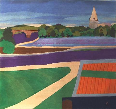 Lavender Field, hand dyed, hand spun, hand woven wool carpet, 123 x 133 cm