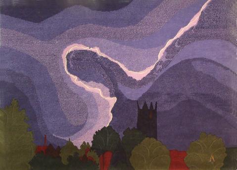 Lightning, hand dyed, hand spun, hand woven wool carpet, 91 x 125 cm