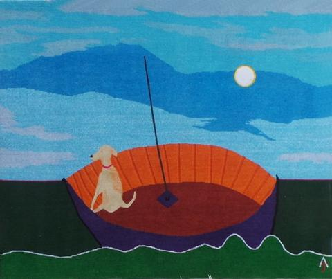 Lone Sailor, hand dyed, hand spun, hand woven wool and silk carpet 104 x 123 cm