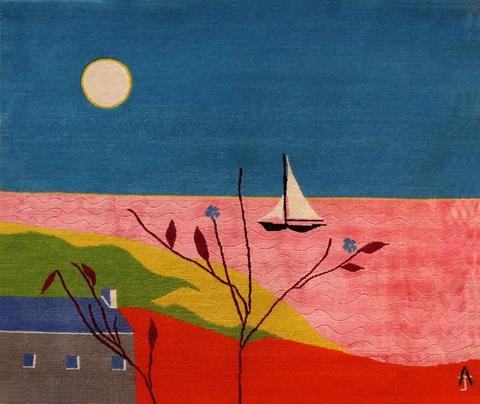 Pink Sea, hand dyed, hand spun, hand woven wool and silk carpet, 87 x 104 cm