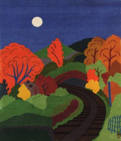 Railway Line, hand dyed, hand spun, hand woven wool carpet, 101 x 98 cm
