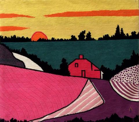 Red Farmhouse, hand dyed, hand spun, hand woven wool carpet, 97 x 108 cm