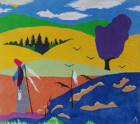Scarecrow, hand dyed, hand spun, hand woven wool and silk carpet.109 x 121 cm