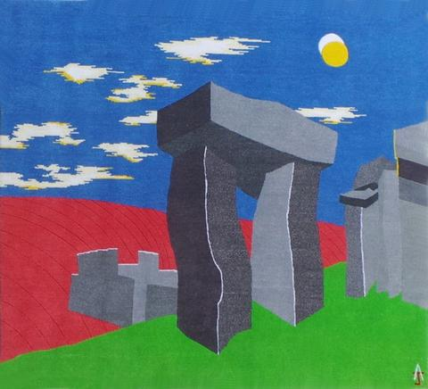 Stonehenge, hand dyed, hand spun, hand woven wool and silk carpet, 119 x 129 cm