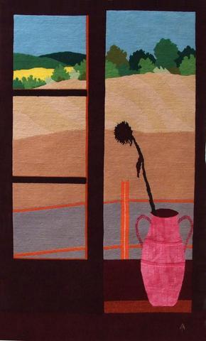 Sunflower, hand dyed, hand spun, hand woven wool and silk carpet, 164 x 100 cm