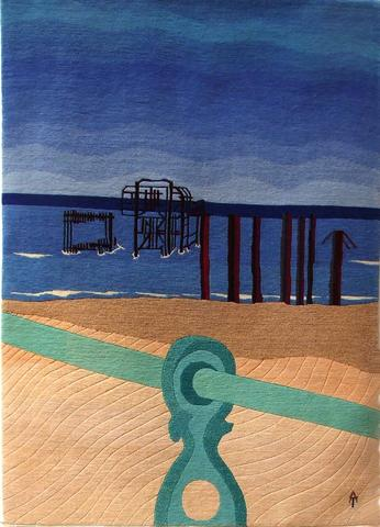 West Pier, hand dyed, hand spun, hand woven wool carpet, 134 x 94 cm
